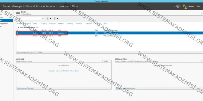 Windows Server 2012'de simple volume oluşturma ve konfigürasyon